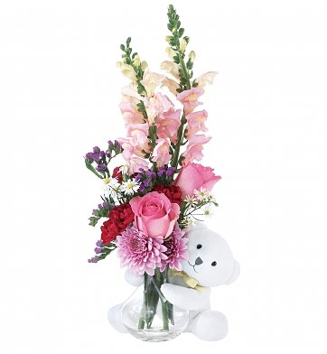 Flower Delivery Chicago on Bear Hug  Flower Bouquets   A Beautiful Bouquet With An Adorable Teddy