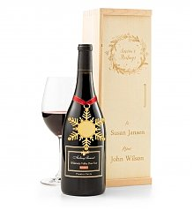 Wine Gift Crates: Engraved Season's Greetings Wine Crate