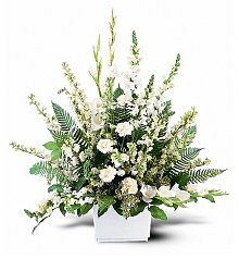 Funeral Flowers: White Expressions Basket