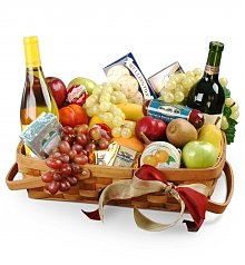 Wine & Fruit Baskets: Father's Day Gourmet Fruit Basket with Wine